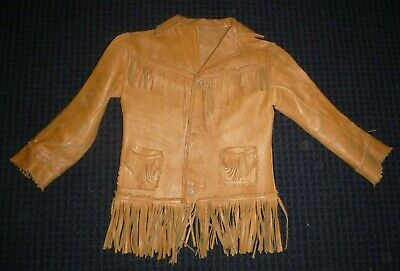 Vtg Child Toddler Sized Fringed Leather Western Style Jacket Coat