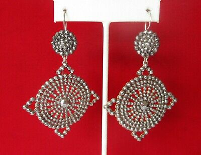 Pair of Large & Exquisite Antique French Mid-19th Century  Cut Steel Earrings