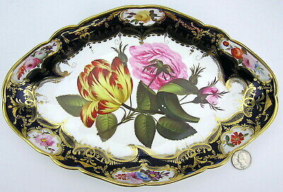Antique English Hand Painted Porcelain Pink Roses Tulips Bowl poss. Worcester