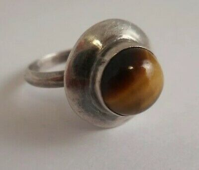 VTG Mexico STERLING SILVER Modernist Tigers Eye Ring Hallmarked SZ 5.75