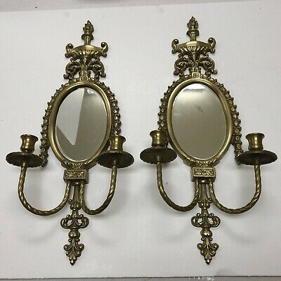 Pair Early 20Th C. Louis XV Style Brass Sconces With Oval Beveled Mirrors