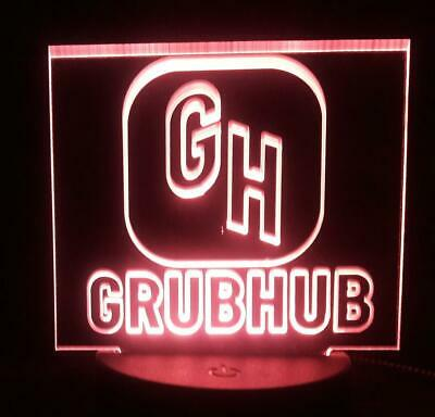 Grubhub sign RGB COLOR Car Deluxe sign Acrylic engraving Multi Touch Color Base