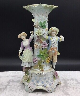 Carl Thieme Antique Porcelain Candlestick Romantic Couple Figural Flower Dresden