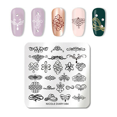 NICOLE DIARY Square Stamping Plate Stainless Steel Nail Art Template Tools 084