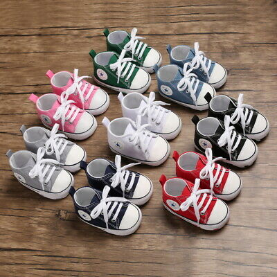 Newborn to 18 M Baby Boys Girls Soft Pram Shoes Infant Toddler Sneakers Trainers