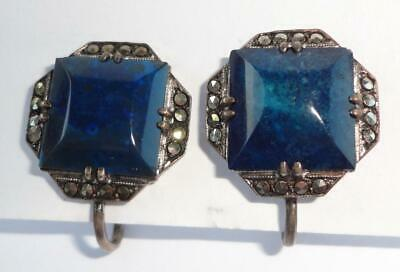 Art Deco Sterling Silver Lapis & Marcasite Earrings