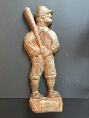 Antique Cast Iron Baseball Player Doorstop Markings On Back O F C 1912 Old Paint