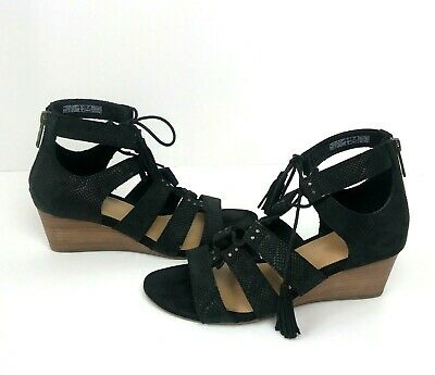 414138cca3d UGG YASMIN BLACK Snake Stacked Wedge Heel Lace Up Strappy Sandal ...