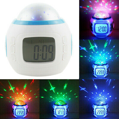 Music Led Star Sky Projection Digital Alarm Clock Calendar Thermometer Kids US