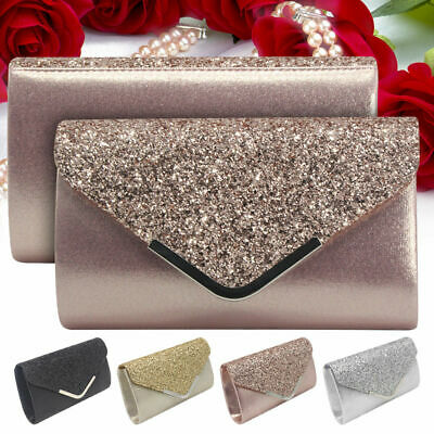 Glitter Shiny Women Formal Evening Clutch Bag Ladies Wedding Prom Handbag Purse