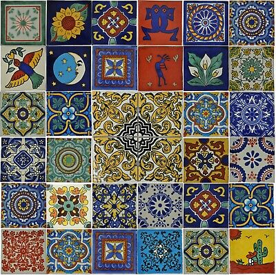 36 x Mixed 10.5cm Mexican Talavera Style Tiles - Ethically Sourced - Large Range