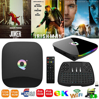 Q Plus Smart TV Box Android 9.0 4+32GB 6K H.265 USB 2.4G WiFi Con Tastiera S8C5