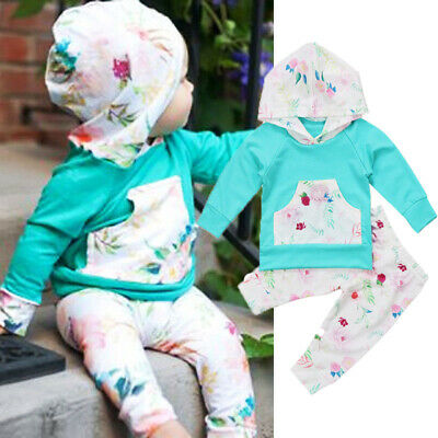 2PCS Newborn Kids Baby Girl Clothes Hooded Tops+Floral Leggings Pants Outfit Set
