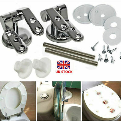 Replacement Chrome Toilet Seat Hinges Set Pair With Fittings Universal Mountings