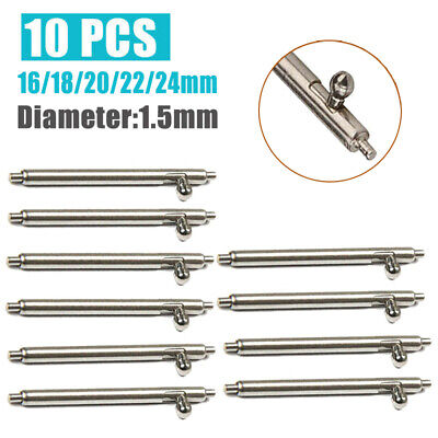 10Pcs 16/18/20/22/24mm Quick Release Watch Strap Spring Bars Pins Repair Tool