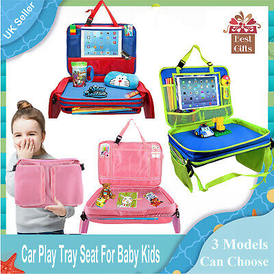 Kids Car Seat Travel Tray Toddler Snack Play Trays Organizer with Removable UK
