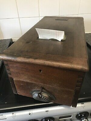 Vintage Antique Gledhill Wooden & Brass Shop Cash Till / Register