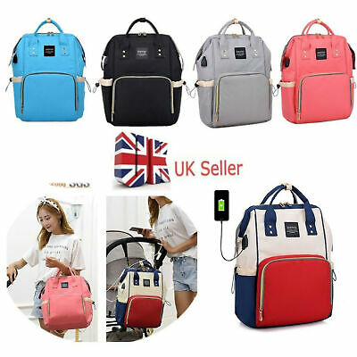 Maternity Bag Baby Nappy Diaper Changing Backpack Mummy Rucksack w/ USB Port UK