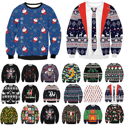 Womens Ugly Christmas Santa Claus Knitted Yuletide Jumpers Sweater Pullover Tops