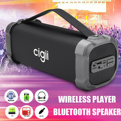 CIGII Portable Wireless bluetooth Speaker Bass Stereo Subwoofer SD FM Radio AUX