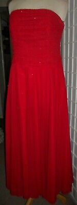 Beautiful Bright Red Strapless MONSOON Size 12 Evening Dress in VGC (4 layers)