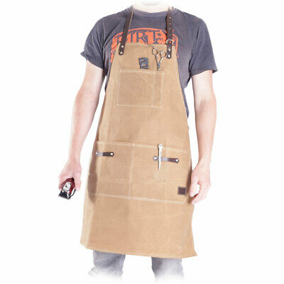 Kobe Luxury Waxed Canvas & Leather Barber Hairdressing Apron - Sand - NEW