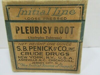 Antique PLEURISY ROOT Apothecary Pharmacy Crude Drug Medicine Box Initial Line
