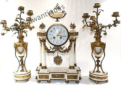 French Samuel Marti White Marble Clock Garniture Candelabra