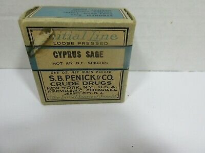 Antique Cyprus Sage Apothecary Pharmacy Crude Drug Medicine Box Initial Line