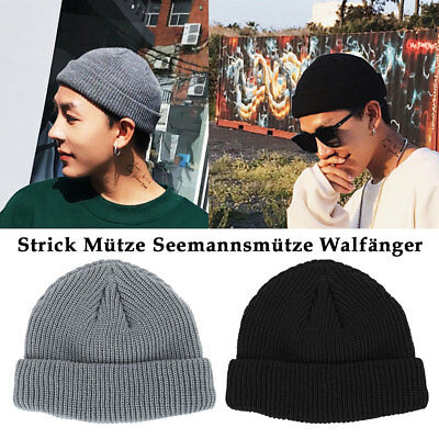 Mens Knitted Woolly Winter Warm Cable Knit Ladies Fleece Beanie Bobble Ski Hat l