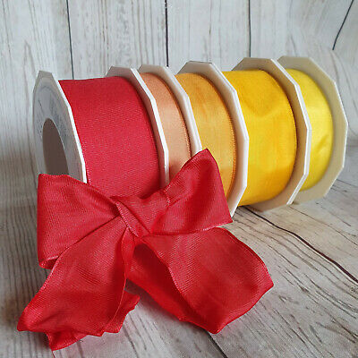 15,25,40mm Wired Faux Silk Ribbons, Sunset,Summer, Red Orange Yellow, Silky
