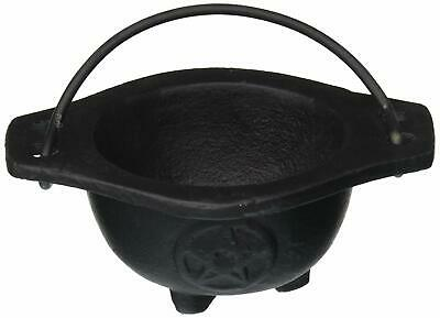 "Cast Iron 3"" Small Pentagram Squat Altar Cauldron Incense Burner NEW"