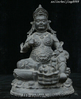 "13"" China Tibet Buddhism Temple Bronze Yellow Jambhala Wealth God Buddha Statue"