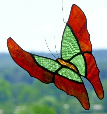 Bleiverglasung Fensterbild Suncatcher Schmetterling in Tiffany