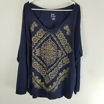 265c5ee8 JMS Just My Size 3x ruched long sleeve graphic top blue gold floral plus  boho