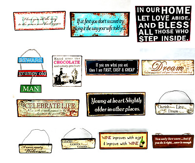 Vintage Retro Wooden Metal Humorous Hanging Signs Home Decoration