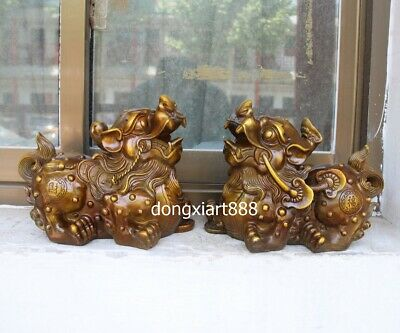 """11"""" Chinese Bronze Foo Dog Lion Pi Xiu Counteract Evil Force Wealth Animal Stat"""