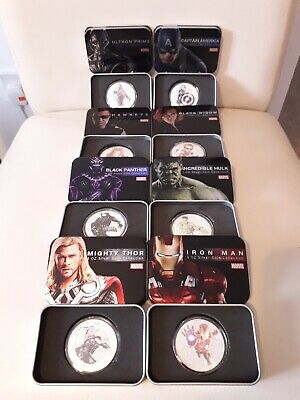 Marvel Avengers 8 Superhero Collectors Coins 1Oz Silver Plated & Tin Gift