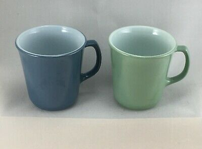 Vintage Pyrex Mugs (2) - Green Heather & Blue Slate - Circa 1980s More Available