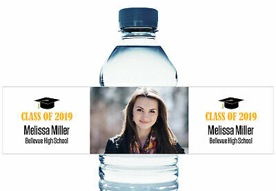 Personalized Graduation Water Bottle Labels with Your Photo