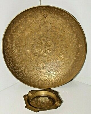 Vintage Brass Made in India Bowl and Ashtray Etched brass