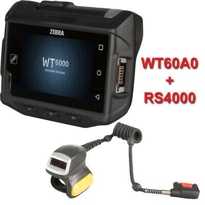 WT60A0-TS0LEUS + RS4000 Zebra Android Wrist Mount Barcode Ring Scanner Motorola