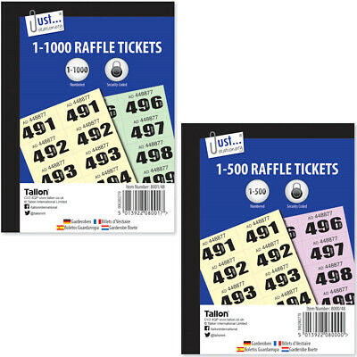 Cloakroom Tickets - Raffle Tickets Coloured Book Draw Tombola 500 1000 Pages