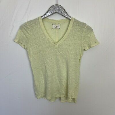 6f191f73 LOFT LOU & Grey Linen V-neck T-shirt XS tan Top washable striped ...