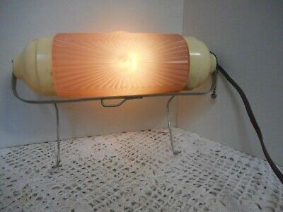 VTG ART DECO PINK Lamp GLASS BULLET Headboard Vanity BAKELITE TESTED 11""