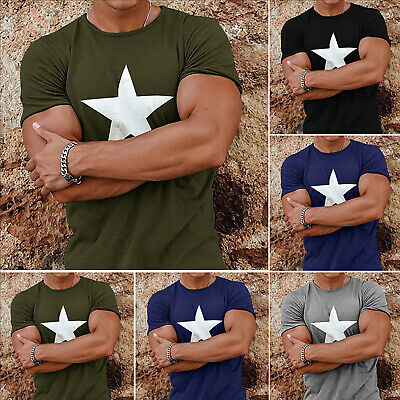 Mens Tops Short Sleeve T-Shirts Casual Muscle Slim Fit Sports Gym Summer Tee UK