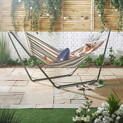 QUALITY Hammock with Metal Frame Luxury Standing Swinging Garden Patio Furniture
