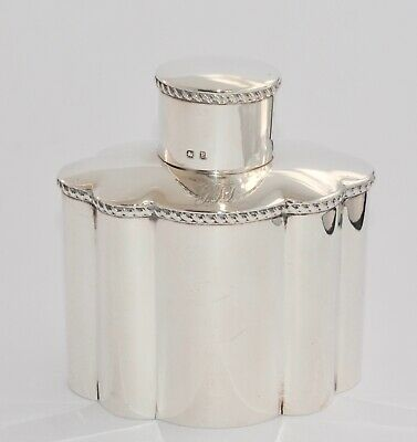 1898 Solid Sterling Silver Tea Caddy - Gadroon Band - Scalloped