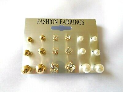 Earrings Assorted Gold Tone Glittery Fashion Jewelry Women Teens US Seller NEW