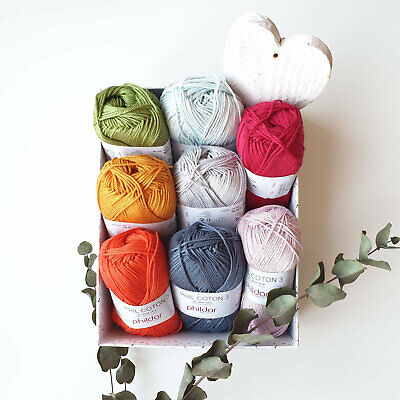 100% Cotton crochet yarn - knitting yarn Phildar COTON3 - soft sport weight yarn